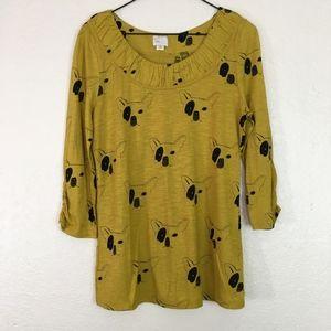 Post Mark Anthropologie mustard dog pug shirt